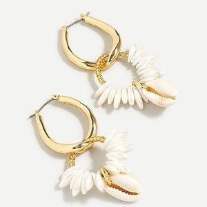 J. Crew Cowrie Shell and Pearl Hoop Earrings